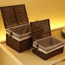 藤編收納筐帶蓋儲物籃桌面收納盒玩具臟衣服收納箱編織長方形竹筐 洛小仙女鞋