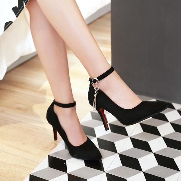 中大尺碼女鞋 2021春季新款細跟單鞋33尖頭高跟鞋32甜美磨砂女鞋小碼31加大碼48