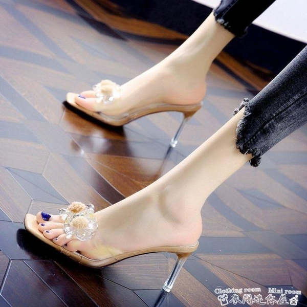 細跟鞋水鉆花透明半拖細跟涼鞋女2021夏季新款仙女時裝涼拖百搭高跟拖鞋 迷你屋 新品