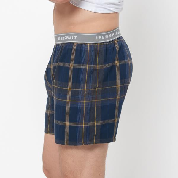 【JEEP】五片式剪裁 純棉平口褲(藍黃大格紋)