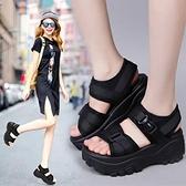 鬆糕涼鞋 夏季新款厚底增高坡跟魔術貼女士鬆糕鞋百搭學生運動涼鞋 交換禮物