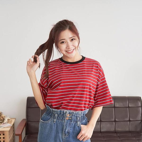 韓國女裝 美式條紋圓領短袖T恤 C1077 正韓直送 韓妞必備 百搭顯瘦基本款 阿華有事嗎
