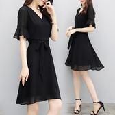 短袖洋裝黑色雪紡女裝短袖夏新款中長顯瘦氣質v領赫本小黑裙 mc10522【KIKIKOKO】