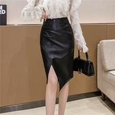 pu皮裙半身裙~2076#職業前開衩一步裙中長款褶皺顯瘦半身裙女時尚包臀皮裙T621快時尚