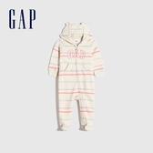Gap嬰兒 Logo條紋連帽一體式包屁衣 651992-象牙白