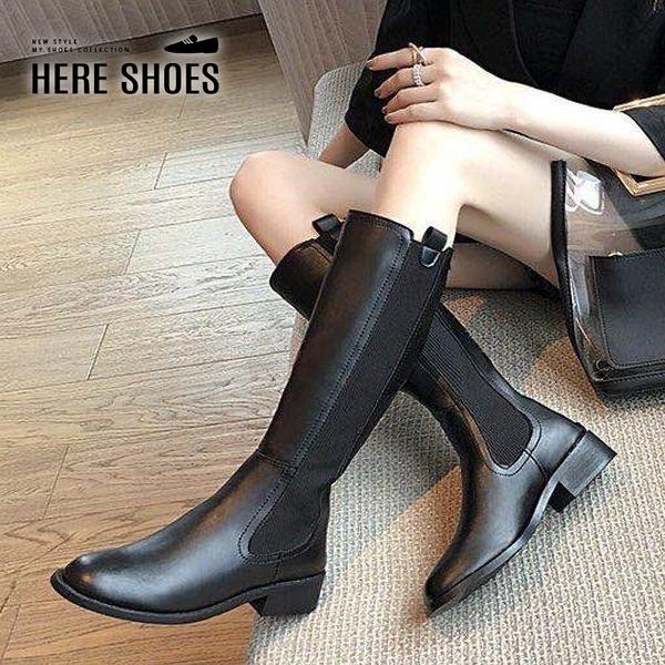 [Here Shoes] 零碼37 38 4CM粗跟長靴 百搭素面筒高35CM皮革後拉鍊切爾西靴 黑靴-KS882