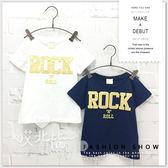 純棉 ROCK搖滾個性短T 親子裝 休閒 圓領 男童 女童 簡約 短袖 上衣 T恤 【哎北比童裝】