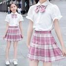 女童洋裝女童新款夏裝兒童jk制服短裙兩件套裝中大童百褶裙學院風洋氣 快速出貨