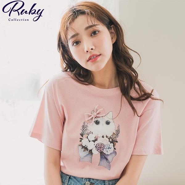 上衣 蝴蝶結萌貓咪短袖上衣-Ruby s 露比午茶
