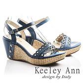 ★零碼出清★Keeley Ann設計美學~鏤空小花朵編織全真皮楔形涼鞋(藍色)