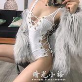 ZZ骨ZZ歐美風性感蕾絲鏤空雞眼教程綁帶低胸性感夜店連體背心吊帶 晴光小語