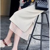 針織半身裙 秋冬裝新款高腰a字洋氣開叉針織半身裙女中長款百搭蕾絲包臀裙子 韓國時尚週