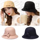 現貨-新款時尚韓版女士防曬遮陽帽子秋冬季仿羊毛禮帽休閒戶外毛呢盆帽