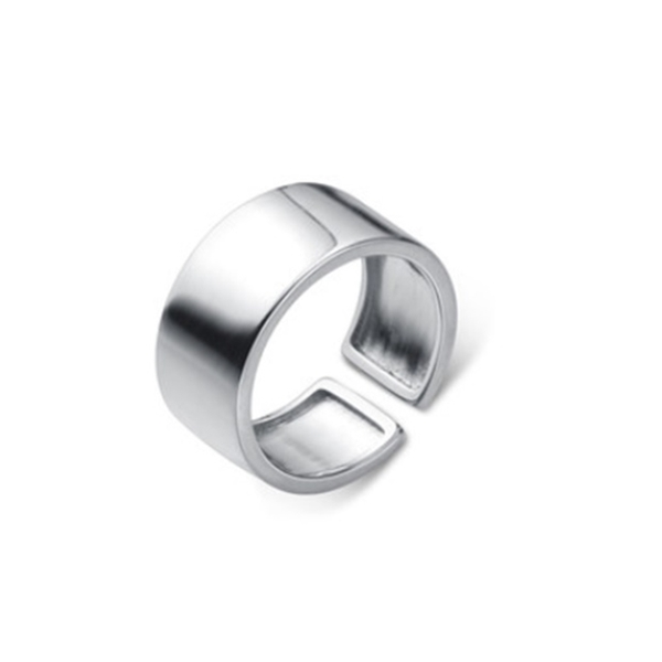 925純銀 極寬弧形亮面 寬版C型可調整戒指 防抗過敏 不退色