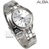 ALBA雅柏錶 羅馬城市風格 日期顯示窗 防水錶 藍寶石水晶玻璃 不銹鋼帶 白色 女錶 AH7P75X1-VJ22-X267S