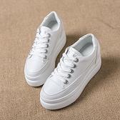 內增高鞋 皮面小白鞋女春季新款百搭韓版厚底8cm秋季單鞋
