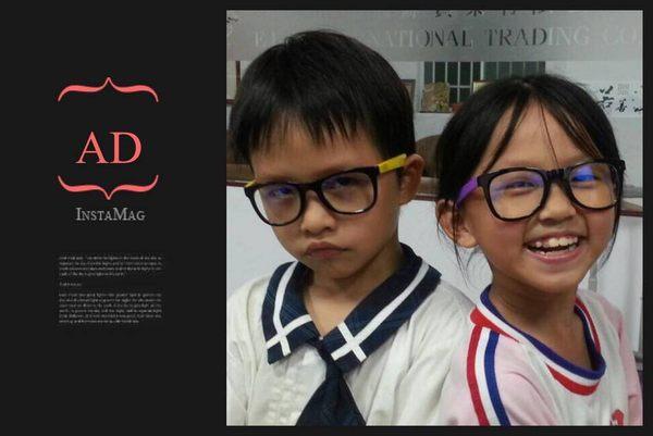 AD小朋友專用頂級MIT抗藍光+抗UV 眼鏡/兒童專用雙色彩框經典款~3C族最佳利器AK6223