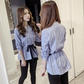 襯衫 長袖條紋襯衫女2019秋季新款韓版氣質V領顯瘦綁帶收腰洋氣上衣潮