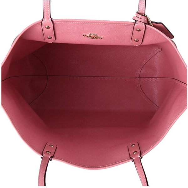 COACH F29547 女士卡其印花配粉色PVC手提單肩雙面托特包