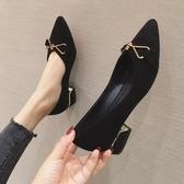 粗跟尖頭單鞋夏季新款仙女