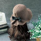 禮帽 秋冬天毛呢帽子女士英倫時尚圓頂禮帽韓國百搭盆帽漁夫帽 巴黎春天