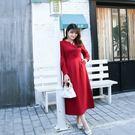 中大尺碼 V領排釦長袖洋裝~共兩色 - ...
