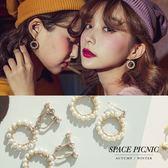 耳針耳夾 Space Picnic|珍珠甜甜圈造型耳針耳夾(預購)【C18101003】