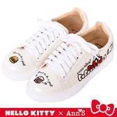 HELLO KITTY X Ann'S美式漢堡爆米花-塗鴉風不對稱彩色刺繡球鞋