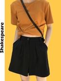 黑色五分短褲女夏2020新款直筒寬鬆顯瘦休閒西裝褲高腰垂感闊腿褲 夏季新品