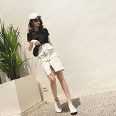 VK旗艦店 韓系修身上衣側開拉鏈包臀短裙套裝短袖裙裝
