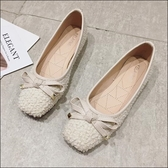 六月芬蘭方頭毛球布經典款素色蝴蝶結芭蕾舞鞋平底鞋娃娃鞋女鞋米白色(35-41大尺碼)[季節款]