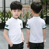 短袖T恤男童短袖T恤夏裝季2018新品童裝中大兒童POLO衫白色正韓棉質潮流