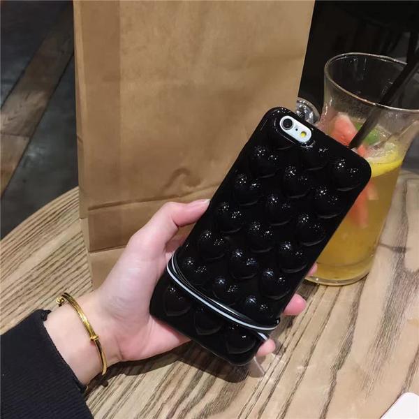 88柑仔店~ 韓國亮黑色愛心立體桃心iPhone7 plus手機殼蘋果6/6s矽膠套防摔女