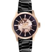 RELAX TIME RT62系列 人動電能地球腕錶-玫塊金x黑/45mm RT-62-5