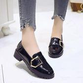 英倫風時尚小單鞋皮鞋女漆皮粗跟秋百搭懶人鞋新款豆豆鞋子  夢想生活家