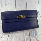 BRAND楓月 HERMES 愛馬仕 經典 D刻 寶藍色 山羊皮 金扣 KELLY 翻蓋 長夾 皮夾 錢包