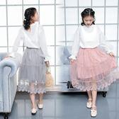 【新年鉅惠】女童蕾絲半身裙 長款網紗裙 3色