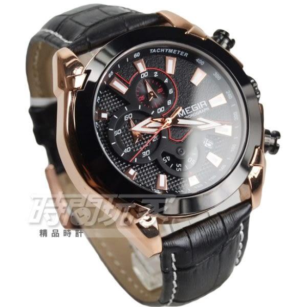 MEGIR 粗曠感真三眼計時賽車腕錶 男錶 日期視窗 計時碼錶 防水手錶 黑x玫瑰金 ME2065玫黑