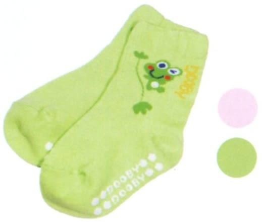 大眼蛙 羅紋素色止滑襪  (粉/綠)  0~2歲用 D-7801