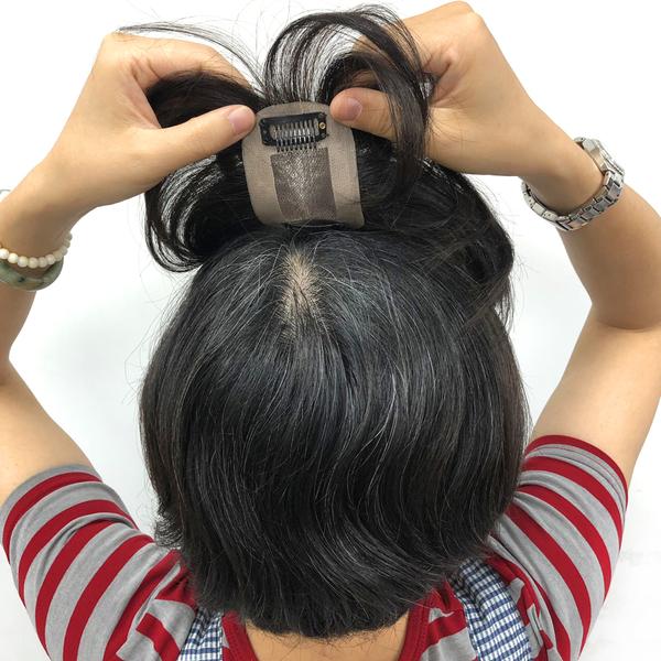 手工真髮 頭頂髮片 微增髮 遮白髮 男女適用 H710 魔髮樂