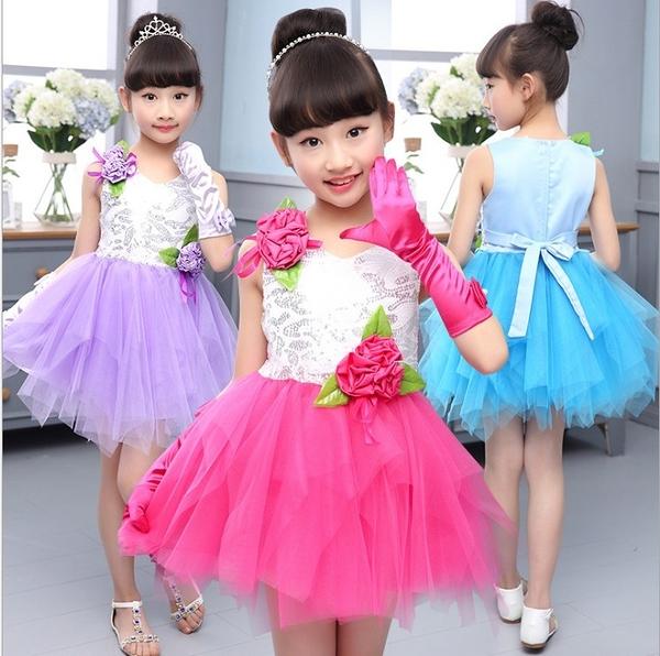 衣童趣 ♥夏季韓版 紡紗下擺 玫瑰花朵 甜美可愛連身裙 無袖 女童跳舞表演服裝 澎澎裙
