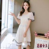 白色蕾絲洋裝夏季新款韓版氣質淑女小清新短袖連身裙甜美超仙短裙 XN497【花貓女王】