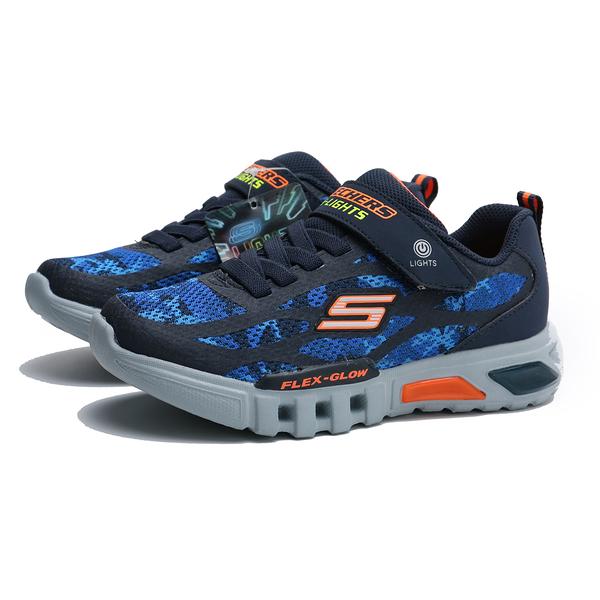 SKECHERS 休閒鞋 S LIGHT 藍橘 發光 燈鞋 膠鞋 運動鞋 中童 (布魯克林) 400017LNVOR