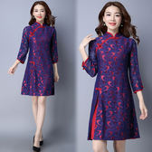 【NUMI】森-蕾絲拼接盤扣七分袖連衣裙-藍紅色(M-2XL可選)    50646