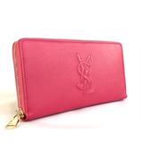 【台中米蘭站】全新品 YSL Belle De Jour 系列品牌字母烙縫線牛皮拉鍊長夾 (352904-桃)