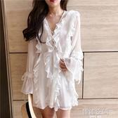 氣質chic白色中裙子很仙的木耳邊洋裝韓版春夏新款V領雪紡裙女  韓語空間