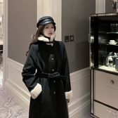 大衣外套女毛呢外套拼接中長款寬松黑色呢子【極簡生活】