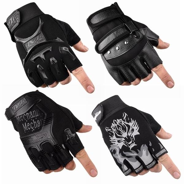戰術手套 手套男春夏透氣戰術防滑露指學生薄款半截戶外運動騎行半指手套男 快速發貨
