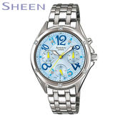 CASIO SHEEN 水藍色數字鋼帶女錶 日期 星期顯示 SHE-3031D-2A 公司貨   名人鐘錶高雄門市