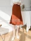 魚尾裙 不規則半身裙女夏春裝新款高腰中長款a字魚尾裙子氣質半裙